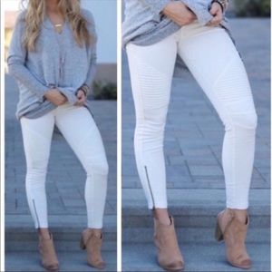 Pants - White stretch moto leggings